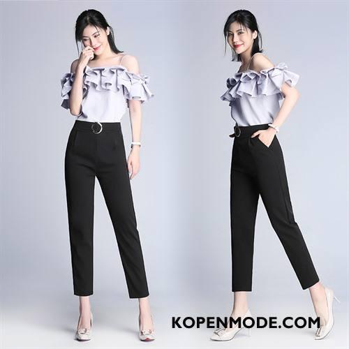 Broeken Dames Mode Decoratie Zomer Trend Hoge Taille 2018 Effen Kleur Zwart