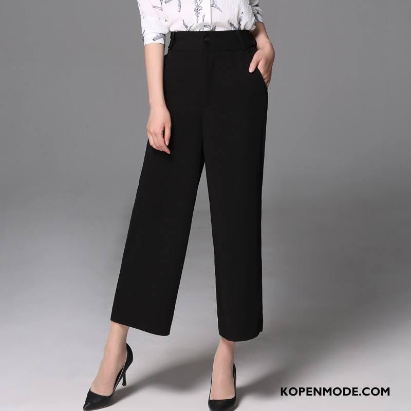 Broeken Dames Slim Fit Mode Herfst Mid Taille Dunne Rechtdoor Zwart