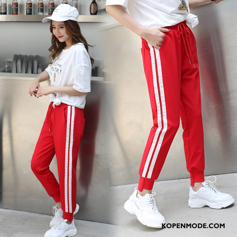 Broeken Dames Straat Zomer Eenvoudige Slim Fit Dunne Trend Rood