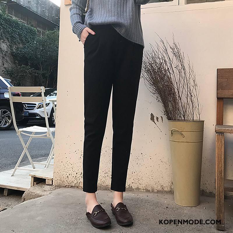 Broeken Dames Trend Dunne Elegante Lang Slim Fit Winter Zwart
