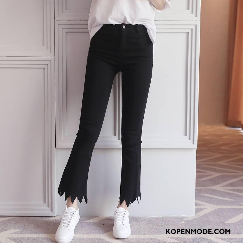 Broeken Dames Trend Mode Voorjaar 2018 Dunne Flare Broek Zwart