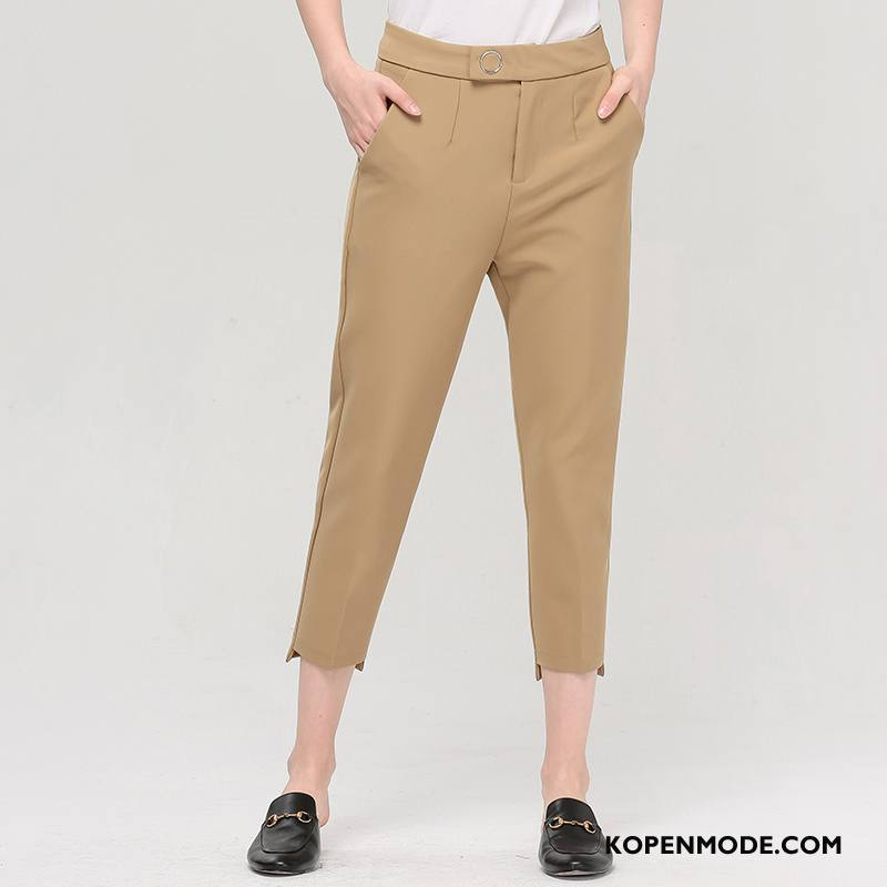 Broeken Dames Trend Zomer Hoge Taille Zak Slim Fit Dunne Effen Kleur Kaki