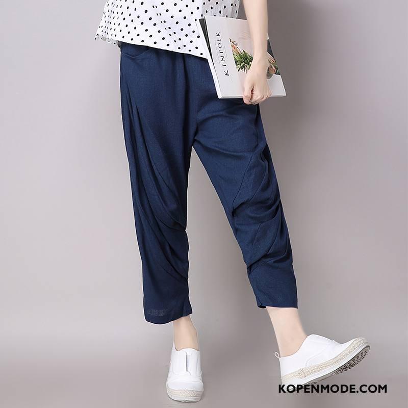 Broeken Dames Voorjaar Mode Slim Fit 2018 Eenvoudige Marineblauw Effen Kleur
