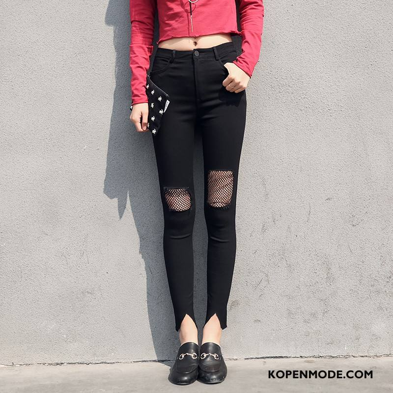 Broeken Dames Zoet Gaten Mode Elegante Voorjaar Eenvoudige Effen Kleur Zwart