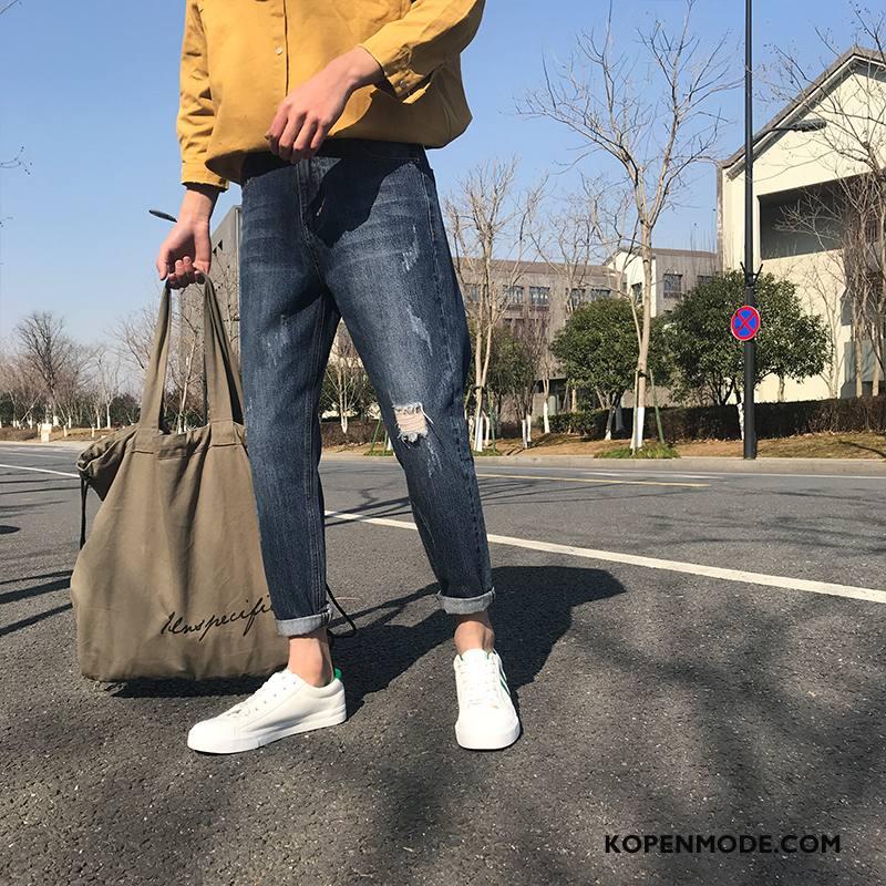 Broeken Heren Dunne Lange Casual Jeugd Trend Slim Fit Blauw