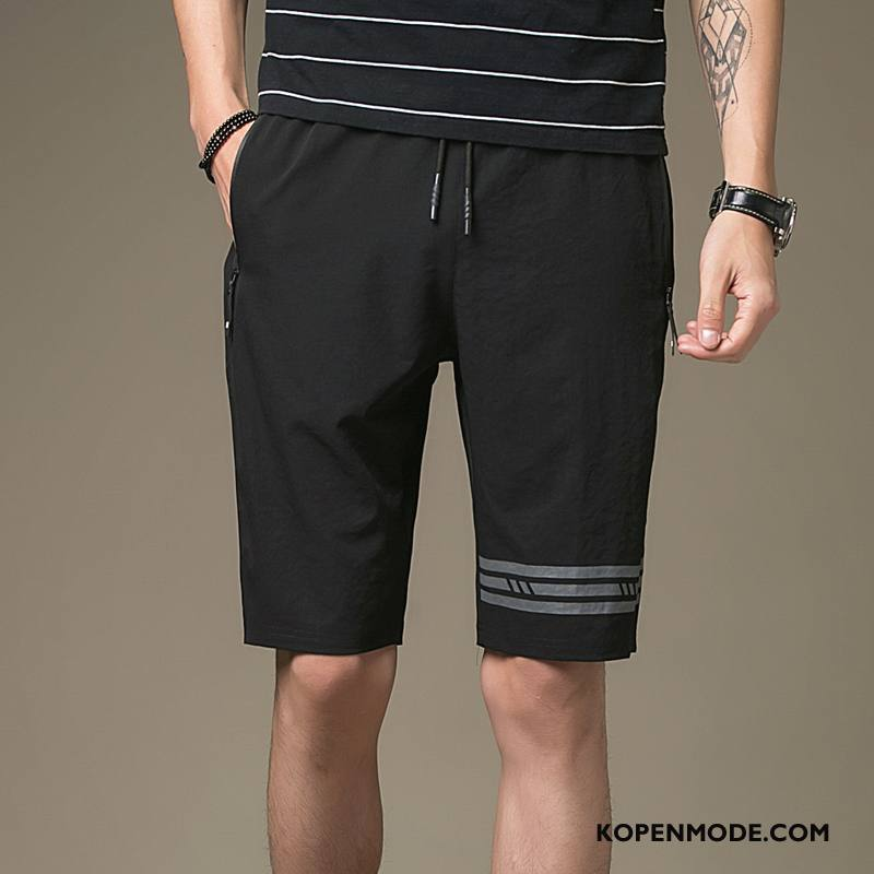 Broeken Heren Slim Fit Trend Korte Broek Groot Zomer Casual Zwart