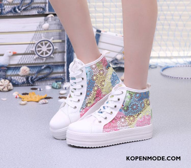 Casual Schoenen Dames Kleur Sport Trend Zoet Canvas Platform Roze