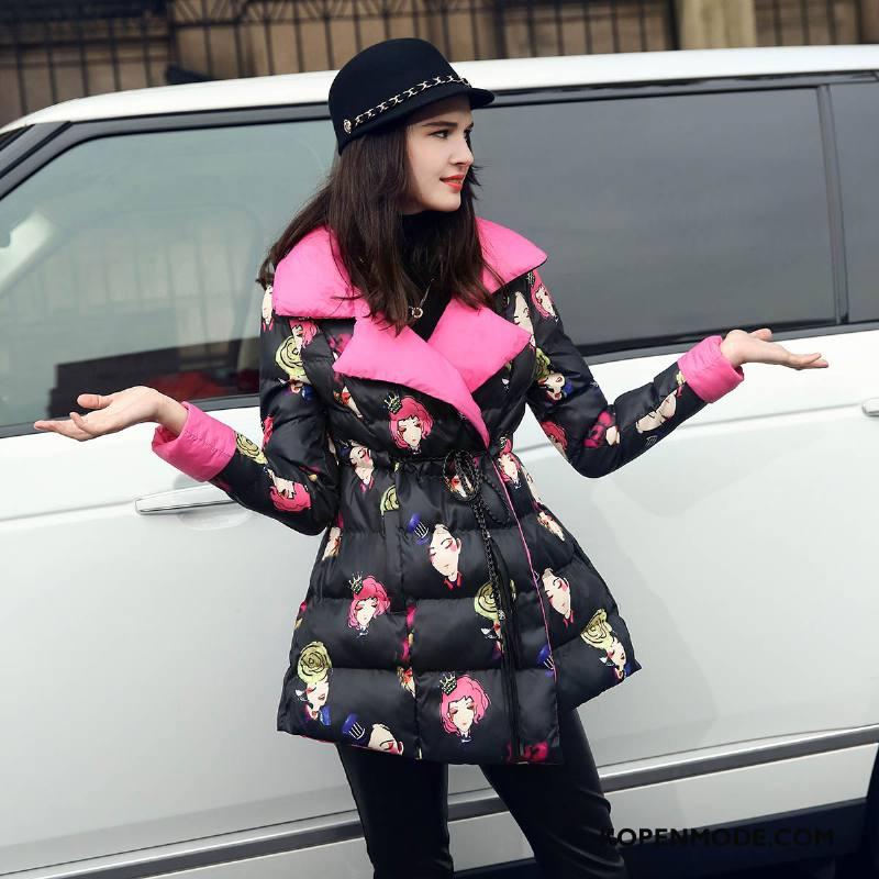 Donsjassen Dames Bedrukken Elegante 2018 Winter Vrouwen Strakke Zwart