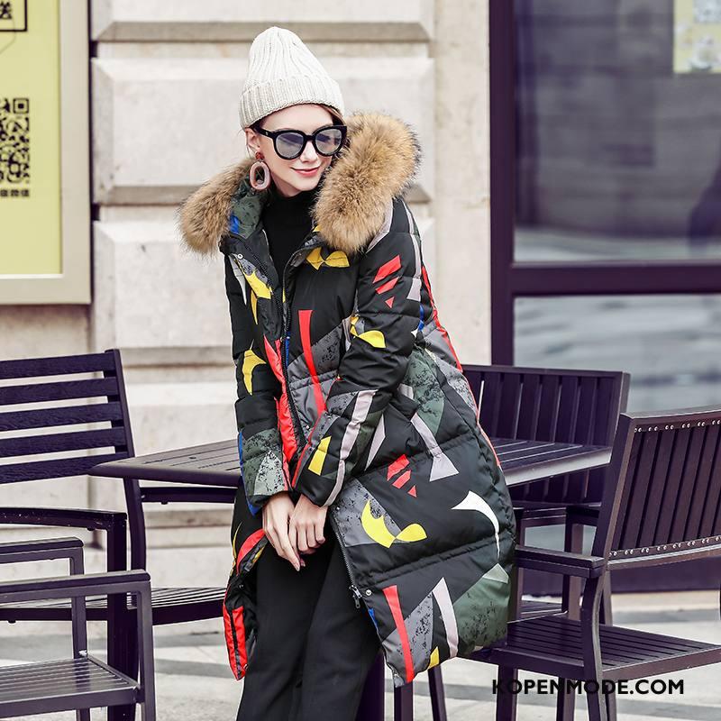 Donsjassen Dames Bontkraag 2018 Winter Lange Mouwen Rits Mode Kleur Effen Kleur