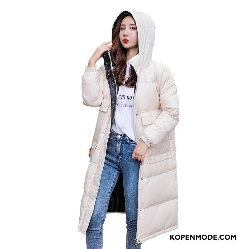 Donsjassen Dames Donsjack Elegante Comfortabele Losse Trend Winter Wit