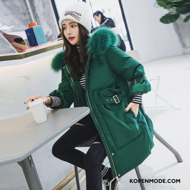 Donsjassen Dames Donsjack Slim Fit Winter Comfortabele Elegante 2018 Effen Kleur Groen