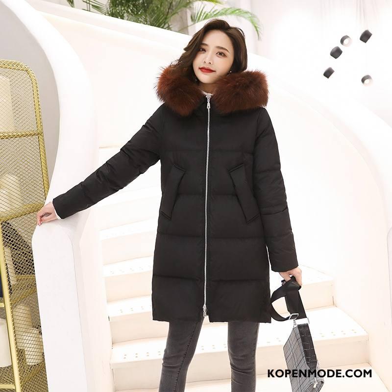 Donsjassen Dames Eenvoudige Donsjack Lang Casual Comfortabele Winter Zwart