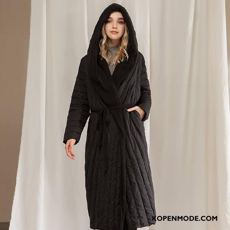 Donsjassen Dames Elegante Comfortabele Hoodie Winter Lange Mouwen Donsjack Zwart