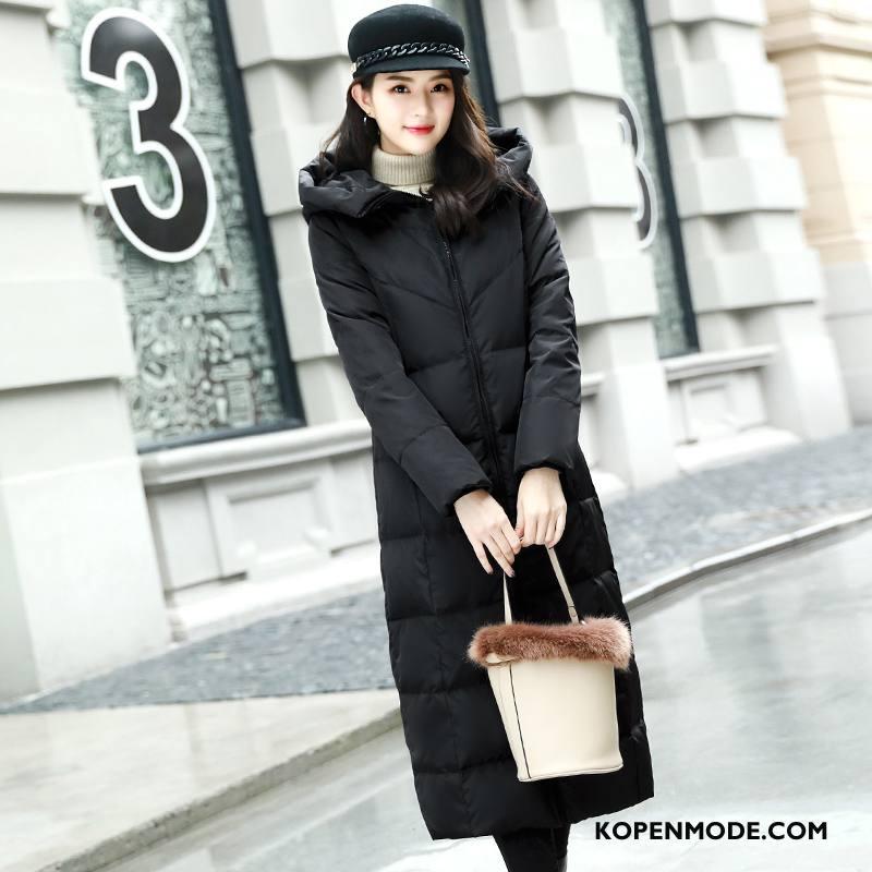 Donsjassen Dames Elegante Winter Eenvoudige Mooi Donsjack Dikke Effen Kleur Zwart