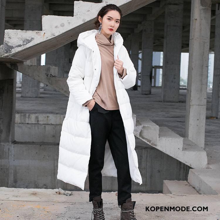 Donsjassen Dames Katoenen Jas Zak Trend 2018 Elegante Knopen Effen Kleur Wit