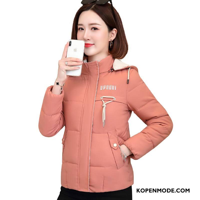 Donsjassen Dames Kort Comfortabele Casual Hoodie Mode Warme Effen Kleur Roze