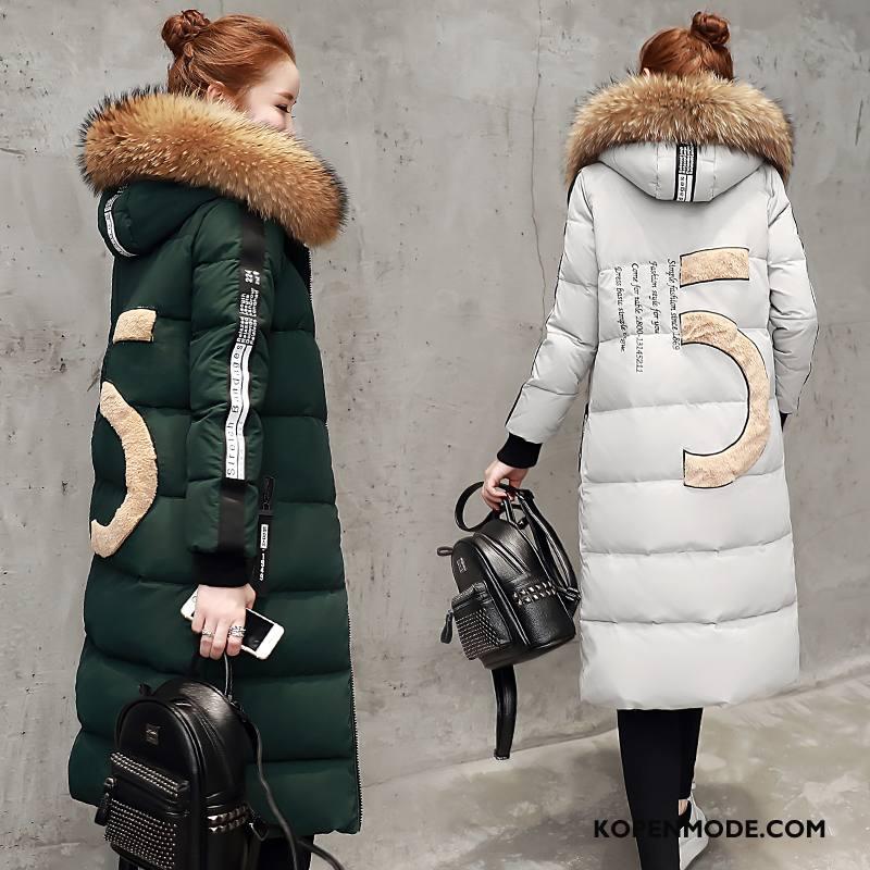 Donsjassen Dames Lang Donsjack Mode Winter Trend Donkergroen Effen Kleur