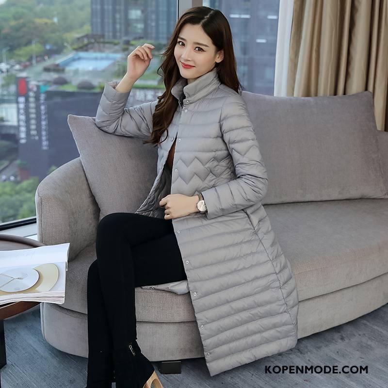 Donsjassen Dames Lang Donsjack Slim Fit Mode Eendendons Elegante Wit Grijs