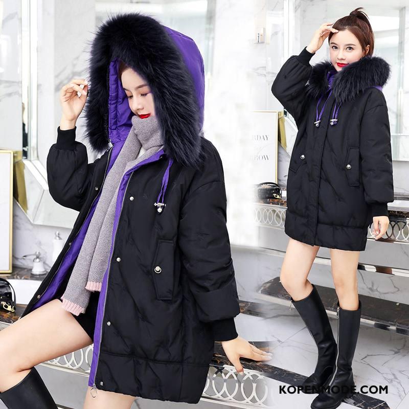 Donsjassen Dames Nieuw Hoodie Winter Kleding Eendendons Lang Donsjack Purper Wit Zwart