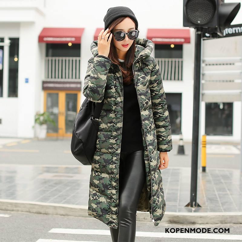 Donsjassen Dames Rits Winter Hoodie Donsjack Mode Lange Mouwen Camouflage