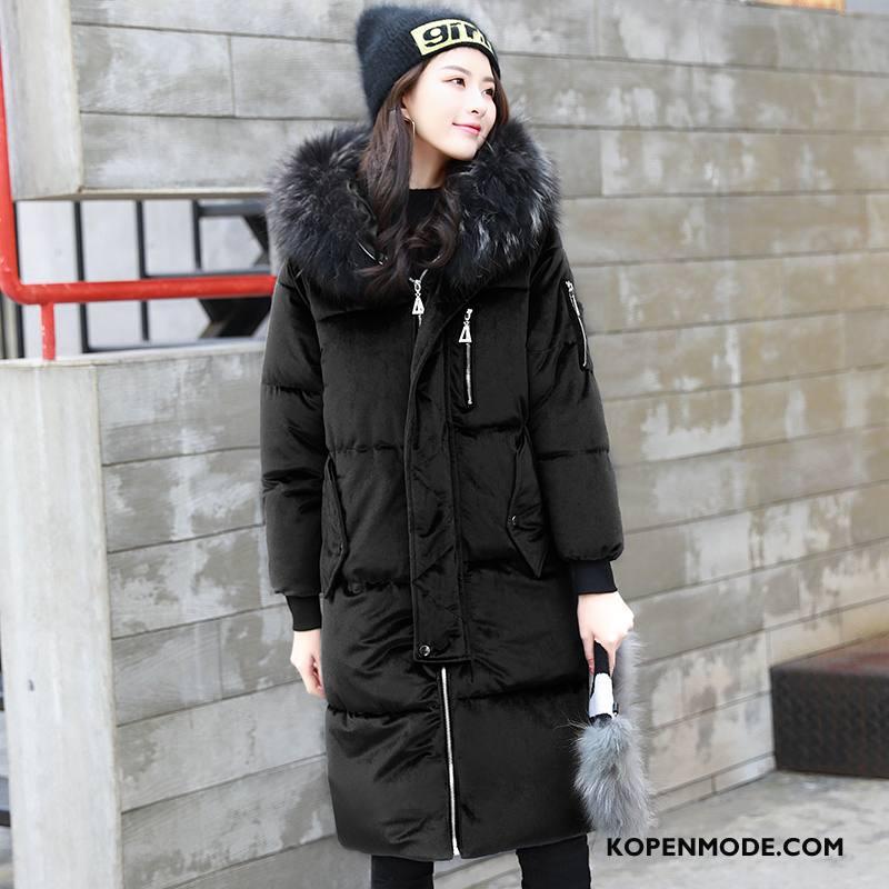Donsjassen Dames Slim Fit Mode Winter 2018 Lang Hoodie Effen Kleur Zwart