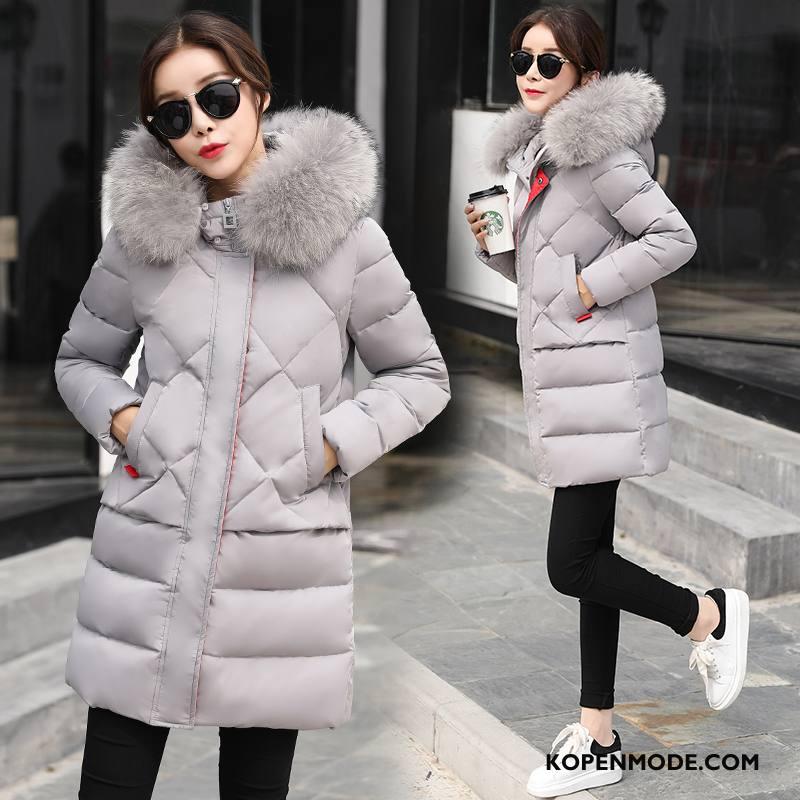 Donsjassen Dames Trend Winter Rits Lang Lange Mouwen Mode Effen Kleur Grijs Licht