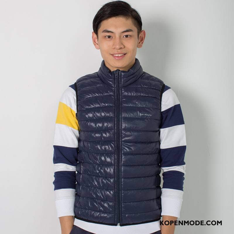 Donsjassen Heren 2018 Lichte En Dun Mode Onderhemd Kort Warme Marineblauw