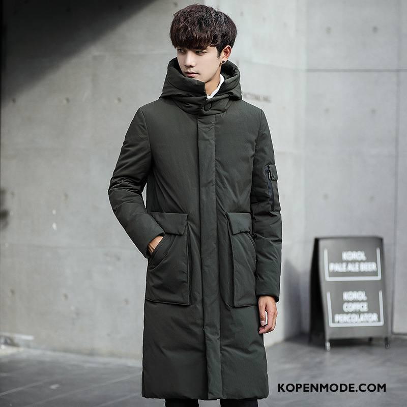 Donsjassen Heren Lange Dikke Winter Kleding 2018 Mode Slim Fit Groen