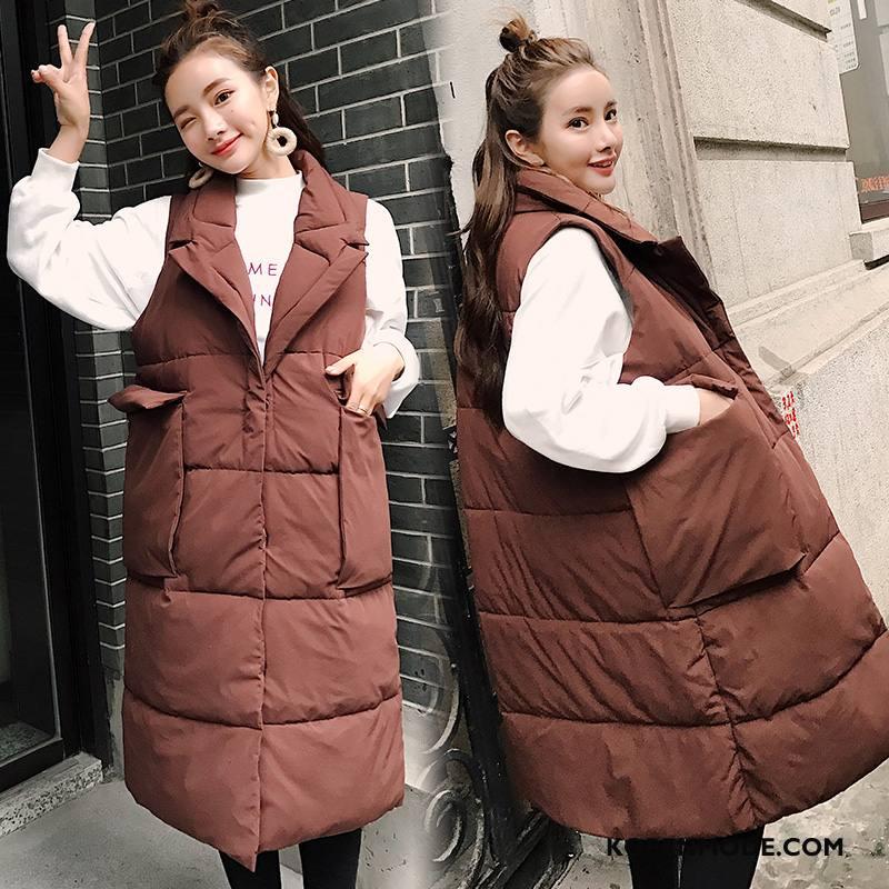 Gilet Dames Elegante Lange Slim Fit Winter Pak Polyester Karamel Kleur Effen Kleur