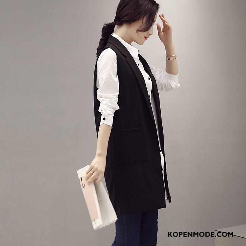 Gilet Dames Elegante Zak Trend Herfst Lang Eenvoudige Zwart