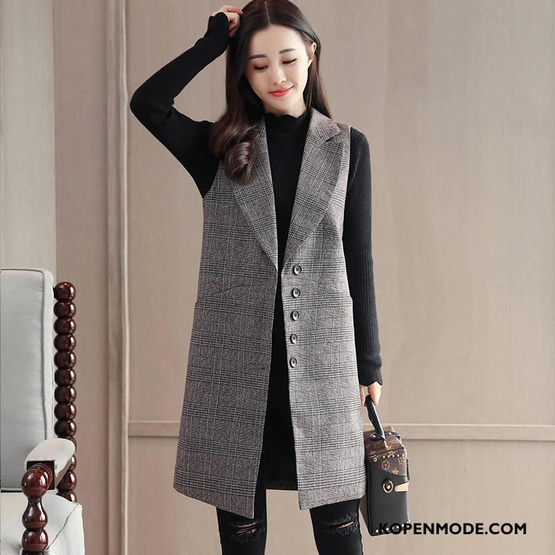 Gilet Dames Geruit Casual Voorjaar Mode Mouwloos Pak Grijs
