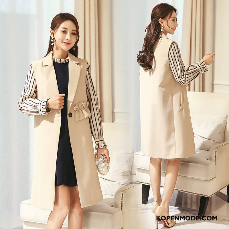4fdfc37391692c Gilet Dames Mouwloos Slim Fit Elegante 2018 Populair Mode Effen Kleur Beige