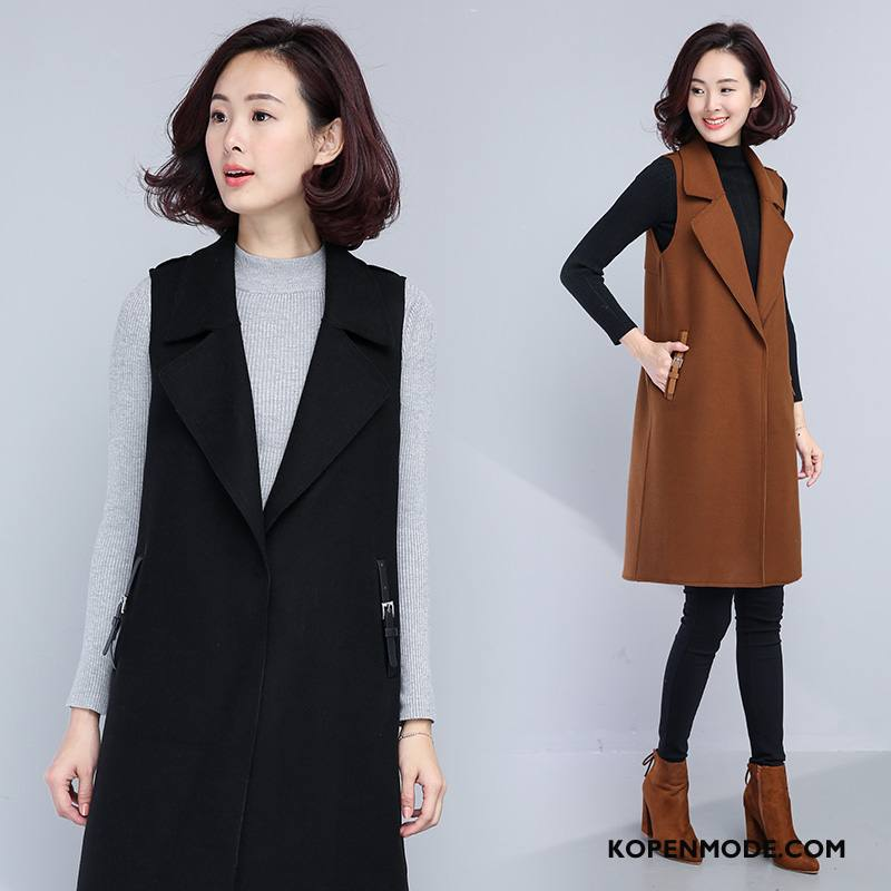 Gilet Dames Pak Winter 2018 Slim Fit Mode Elegante Effen Kleur Zwart