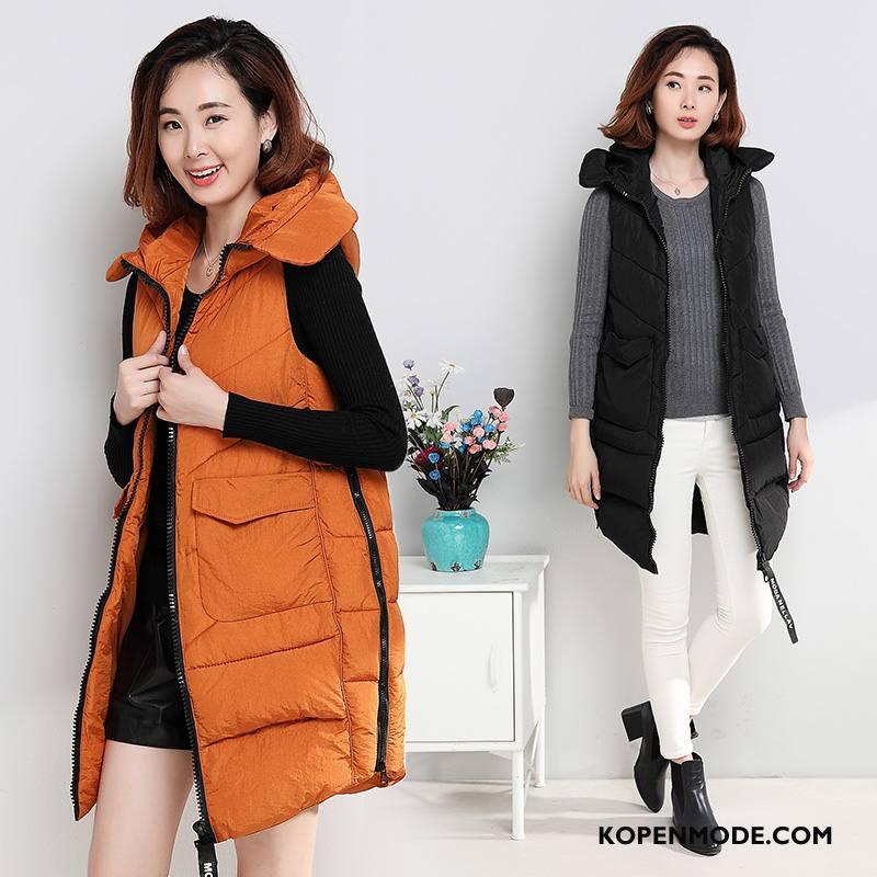 Gilet Dames Trend Mode Mouwloos Slim Fit Winter Rits Karamel Kleur Effen Kleur