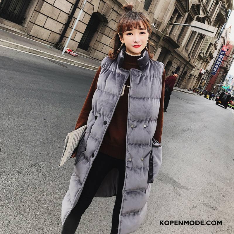 Gilet Dames Trend Winter Verbinding 2018 Hoge Kraag Zak Effen Kleur Grijs Donker