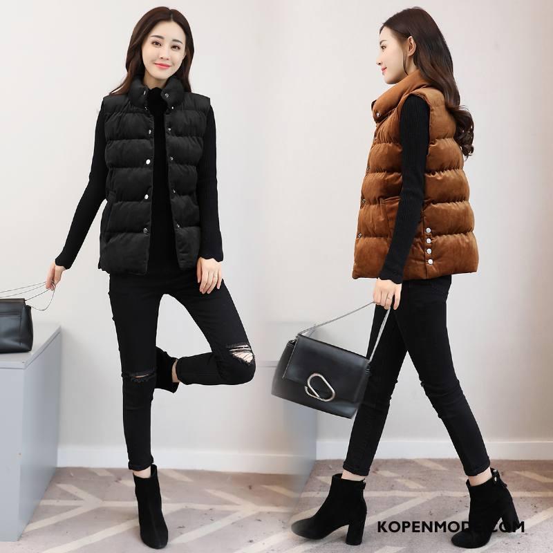 Gilet Dames Winter Zak 2018 Straat Mouwloos Mode Effen Kleur Zwart