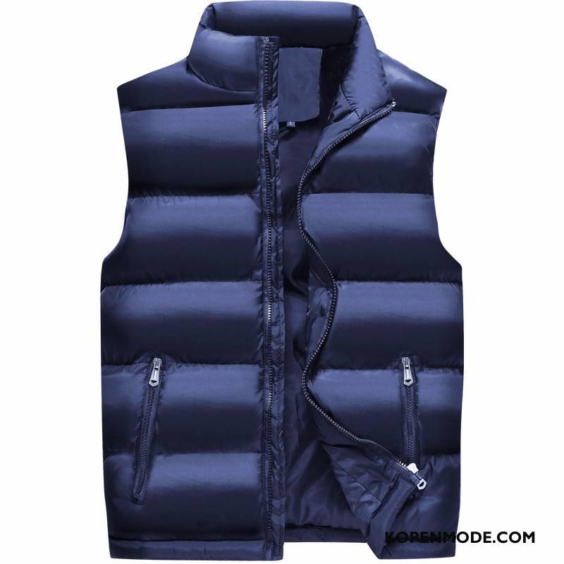 Gilet Heren Grote Maten Mannen Katoenen Jas Onderhemd Dikke Trend Donkerblauw