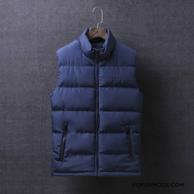 Gilet Heren Herfst Warme Katoenen Jas Trend Winter Onderhemd Marineblauw