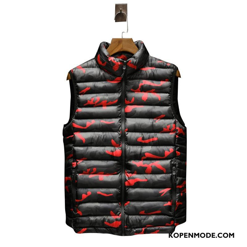 Gilet Heren Mannen Casual Camouflage Rood