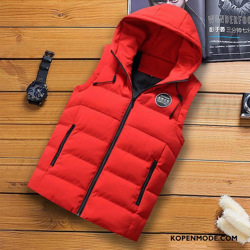 Gilet Heren Mode Casual Slim Fit Mannen Winter 2018 Rood