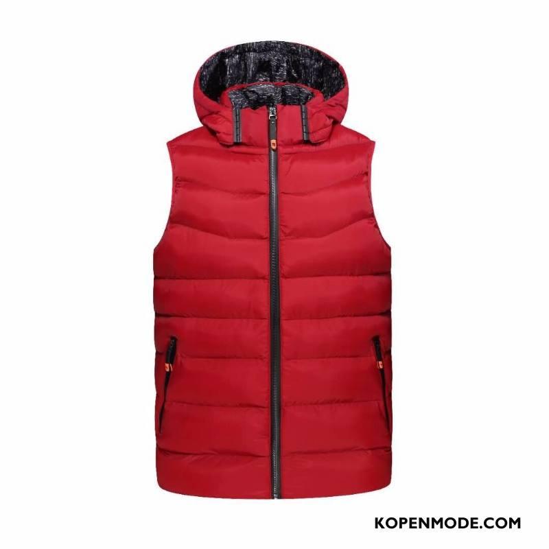Gilet Heren Mode Katoenen Jas Verwijderbaar Herfst Nieuw Winter Rood