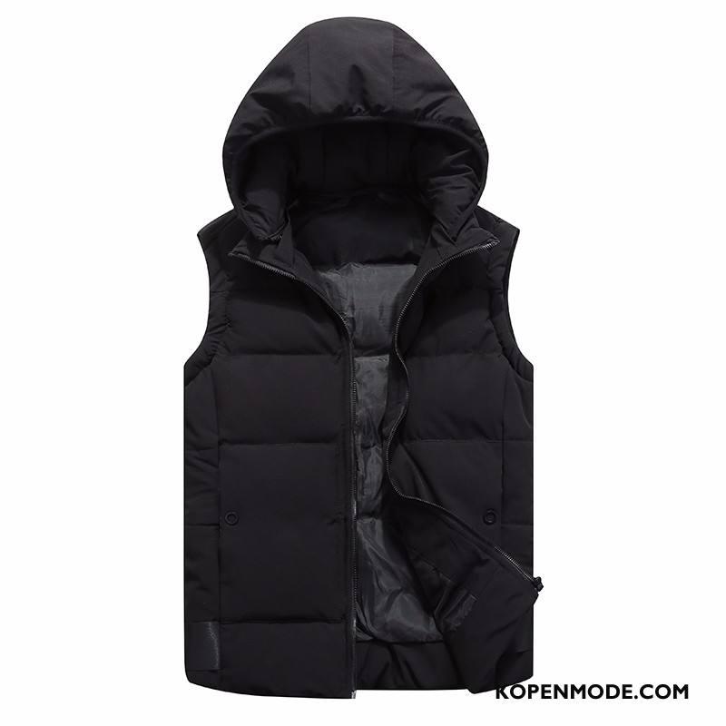 Gilet Heren Onderhemd Herfst Casual Hoodie Winter Verwijderbaar Zwart