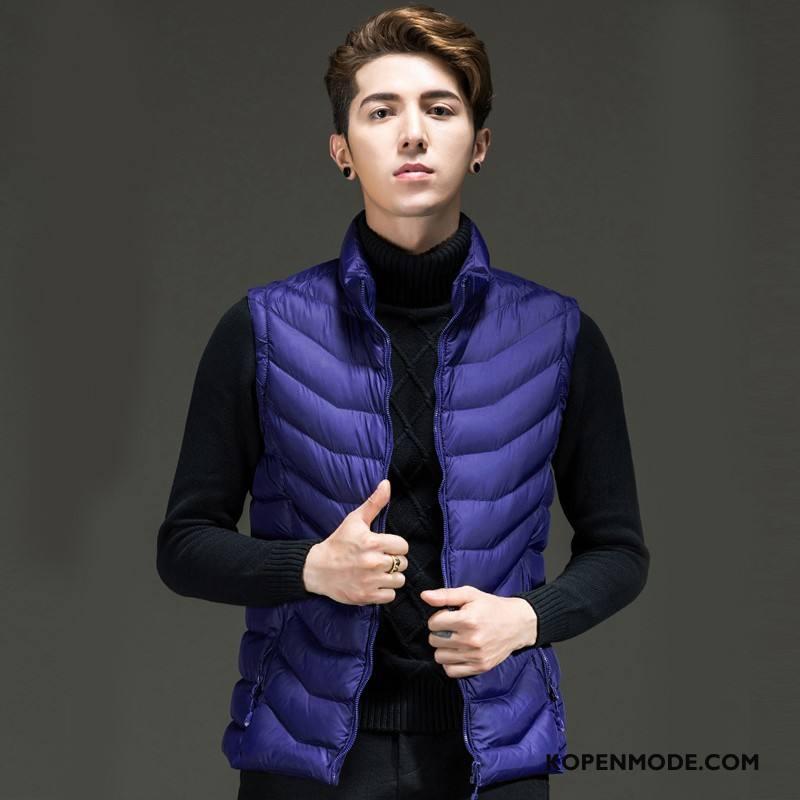 Gilet Heren Onderhemd Katoen Slim Fit Winter Lichte En Dun Trend Marineblauw