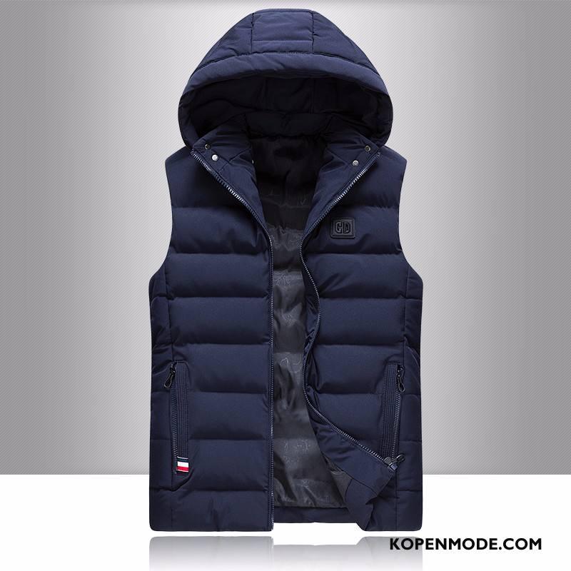 Gilet Heren Slim Fit Student Trend Winter Mooi Katoen Donkerblauw