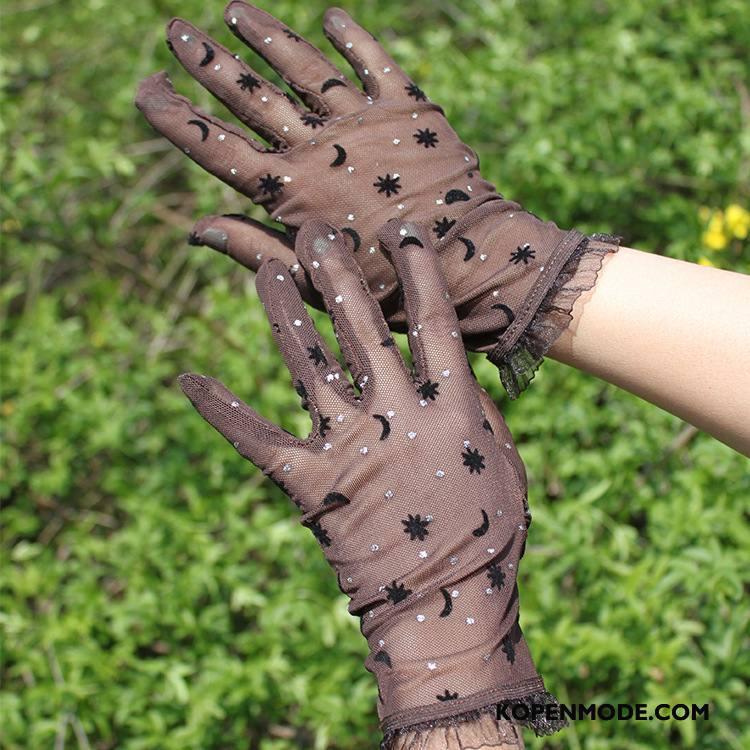 Handschoenen Dames Antislip Rechtbanken Dun Kant Zomer Zonnebrandcrème Bruine Purper