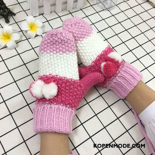 Handschoenen Dames Blijf Warm Mode Herfst Winter Wollen Breien Roze Rood