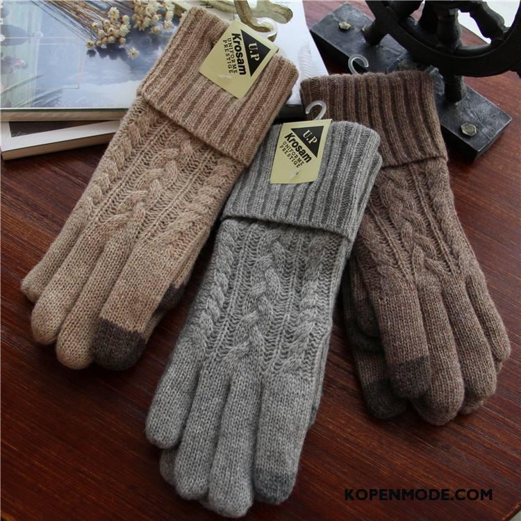 Handschoenen Dames Blijf Warm Nieuw Breien Verdikken Winter Verlengen Grijs