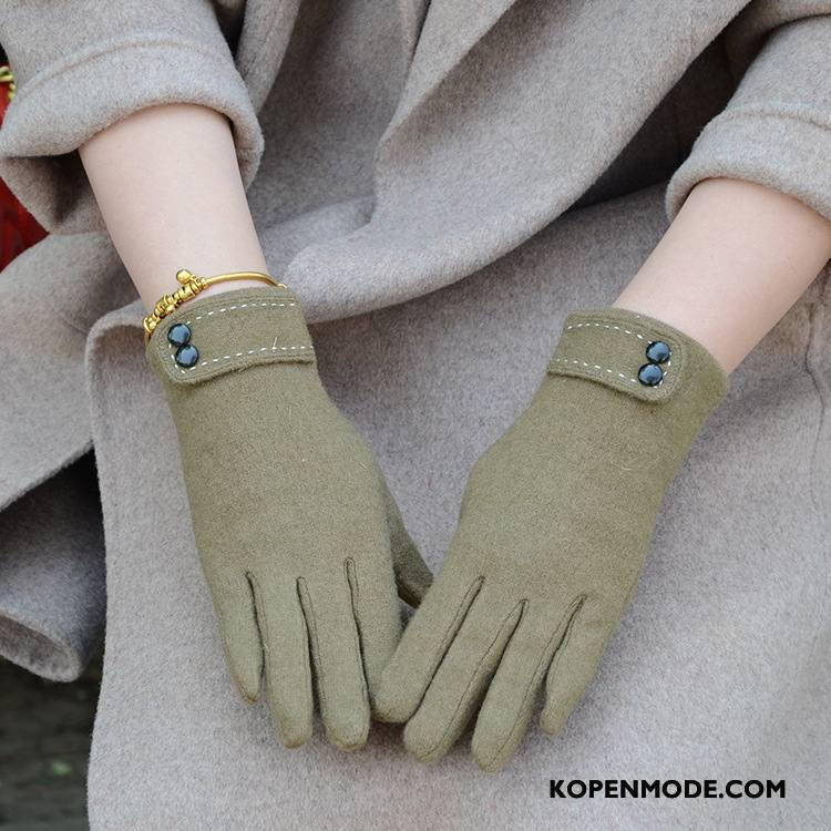 Handschoenen Dames Blijf Warm Touchscreen Pluche Winter Verdikken Nieuw Groen