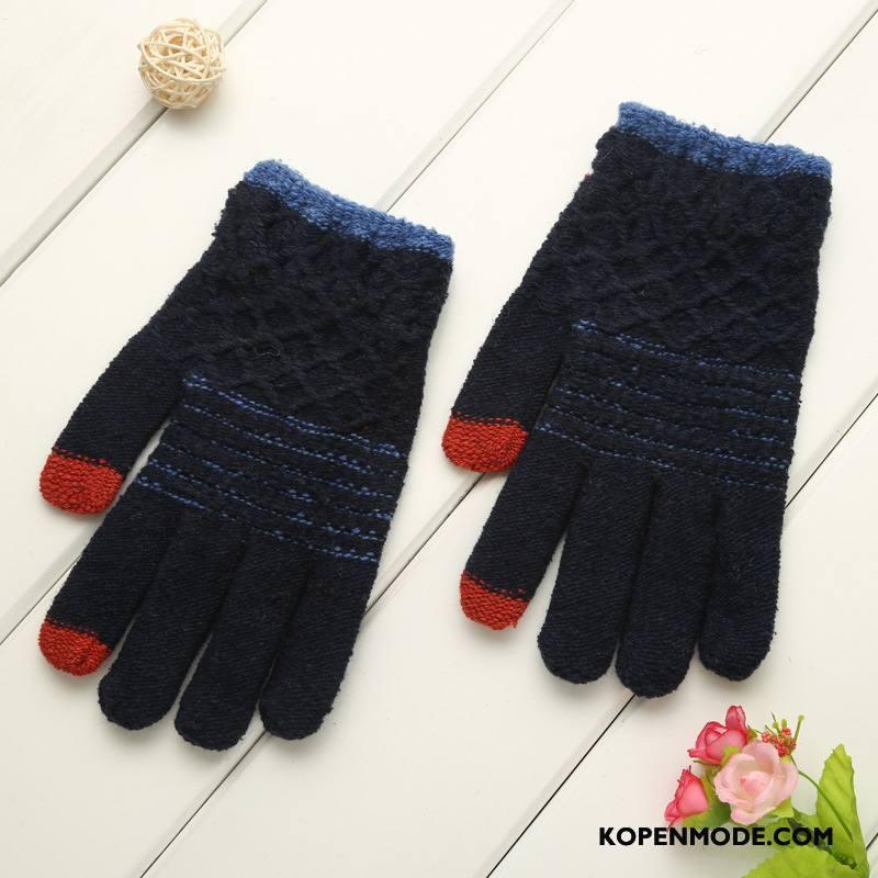 Handschoenen Dames Blijf Warm Touchscreen Vijf Vingers Mannen Winter Ipad Marineblauw