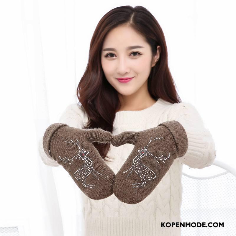 Handschoenen Dames Blijf Warm Trend Winter Breien Wollen Verdikken Bruine